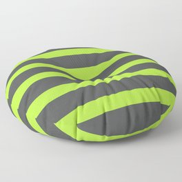 Green Stripes on Gray Background Floor Pillow
