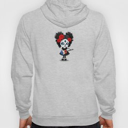 Day of the Dead Girl Playing French Flag Guitar Hoody