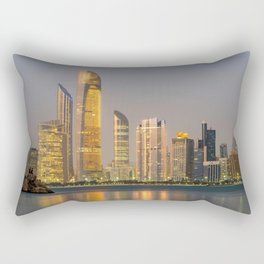 Abu Dhabi Seascape with skyscrapers in the background at evening Rectangular Pillow
