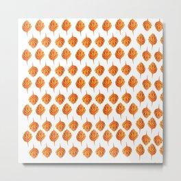 Autumn Leaf Orange Leaves Pattern Metal Print