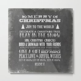 Christmas Chalk Board Typography Text Metal Print