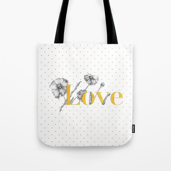 Love - Gold flowers and polkadots on white Tote Bag