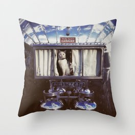 White Cat in a Vintage Airstream Window Throw Pillow