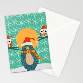 Christmas bear and two little owls Stationery Cards