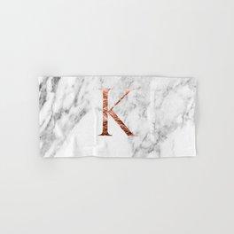 Monogram rose gold marble K Hand & Bath Towel