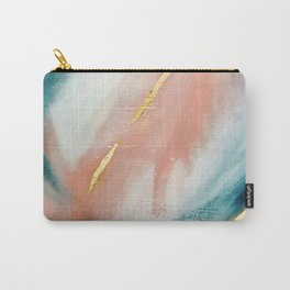 Celestial [3]: a minimal abstract mixed-media piece in Pink, Blue, and gold by Alyssa Hamilton Art Carry-All Pouch