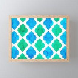 Quatrefoil pattern in blue and green Framed Mini Art Print