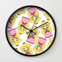 princess peach Wall Clocks featuring peach by guizmo04
