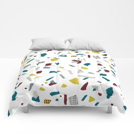 Abstract navy blue lime burgundy lime paper confetti Comforters