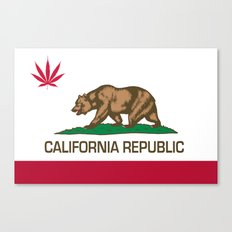 California Republic state flag with red Cannabis leaf Canvas Print