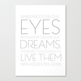 When We Close Our Eyes Canvas Print