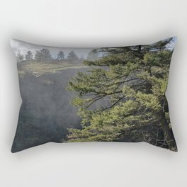 Beside The Falls, Beautiful Old Pine Tree Stands Sentry Beside A Watefall Rectangular Pillow