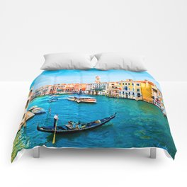 Italy. Venice lazy day Comforters