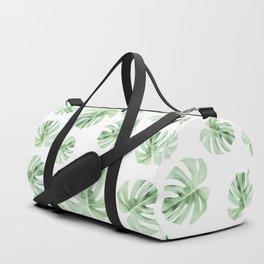 Tropical green leaves on white Duffle Bag