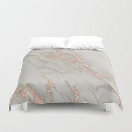 Marble - Rose Gold Marble Metallic Blush Pink Duvet Cover