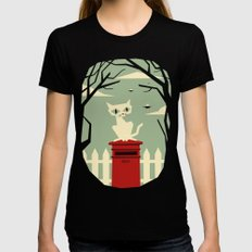 Let's meet at the red post box Black MEDIUM Womens Fitted Tee