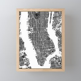 New York city map black and white Framed Mini Art Print