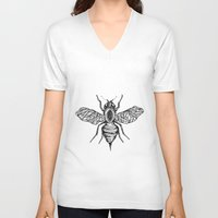 bee V-neck T-shirts featuring Bee by Aubree Eisenwinter
