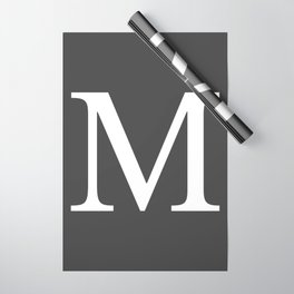 Very Dark Gray Basic Monogram M Wrapping Paper