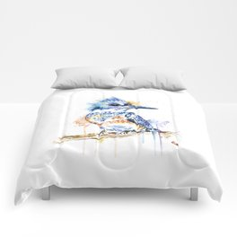 Kingfisher Colorful Watercolor Bird Painting Comforters