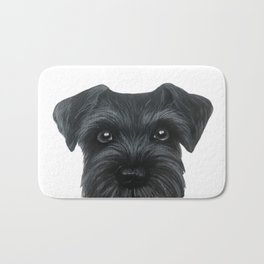 Black Schnauzer, Dog illustration original painting print Bath Mat