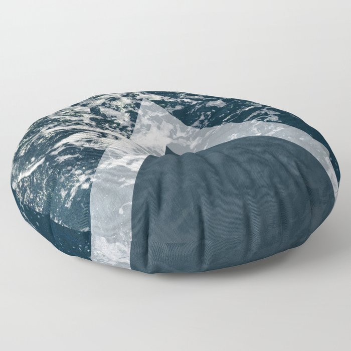 Blue sea arrows collage Floor Pillow
