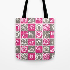 Microscopic Life Sillouetts Pink and Gray Tote Bag