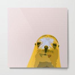 SEAL, HAPPY SEAL, SEAL FACE, Larhe pop art, curious seal, pop art animal, little seal, baby seal Metal Print