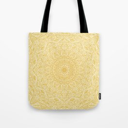 Most Detailed Mandala! Yellow Golden Color Intricate Detail Ethnic Mandalas Zentangle Maze Pattern Tote Bag