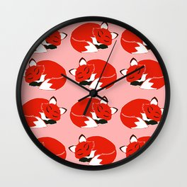 Sleepy Foxes Pattern Wall Clock