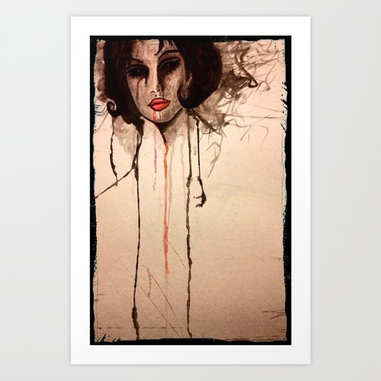creepy girl portrait Art Print