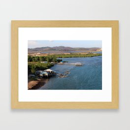 Indonesian River-House Sunset Photo Framed Art Print