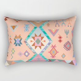 Peachy Boho Kilim Rectangular Pillow