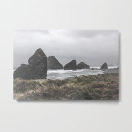Cloudy Beach Metal Print