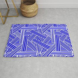 Sketchy Abstract (White & Blue Pattern) Rug