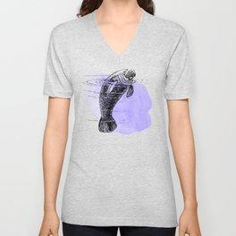 Purple Manatee Unisex V-Neck