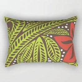 Polynesian flower floral green red tattoo design Rectangular Pillow