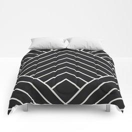 Diamond Series Pyramid White on Charcoal Comforters