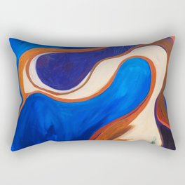 Abstract Blue and Orange Bird Rectangular Pillow