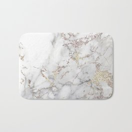 Champagne Rose Gold Blush Metallic Glitter Foil On Gray Marble Bath Mat