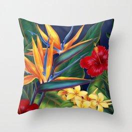 Tropical Paradise Hawaiian Floral Illustration Deko-Kissen