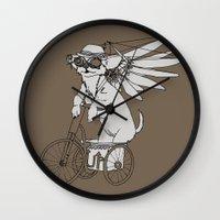 steam punk Wall Clocks featuring Steam Punk Chihuahua by Rebecca Pocai