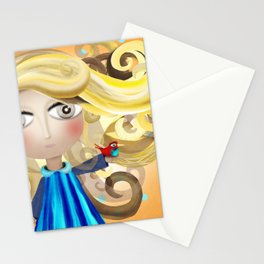 Blonde Hair Doll and Bird Friend Shower Curtain 2017 Stationery Cards