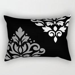Scroll Damask Art I Black Grey White Rectangular Pillow