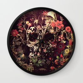 Bloom Skull Wall Clock