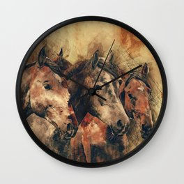 Galloping Wild Mustang Horses Wall Clock
