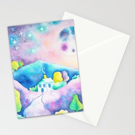 Magical Moonscape - Fantasy Watercolor Landcape Mountains, Full Moon, & Trees Stationery Cards