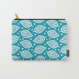 Mid Century Modern Falling Leaves Turquoise Carry-All Pouch