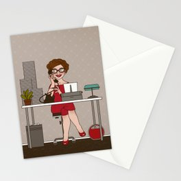 Sixties Secretary with a Typewriter Stationery Cards