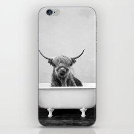 Highland Cow in a Vintage Bathtub (bw) iPhone Skin